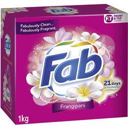 Fab Frangipani Front & Top Loader Laundry Powder 1kg