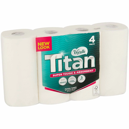 Vevelle Titan Paper Towels White 4 pack