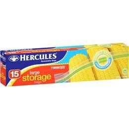 Hercules Resealable Sandwich Bags Large 15 pack