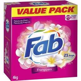 Fab Frangipani Front & Top Loader Laundry Powder 4kg