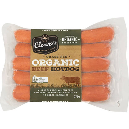 Cleaver's Organic Beef Hot Dogs 275g