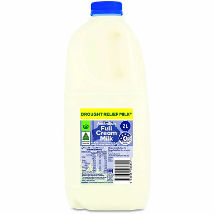 Woolworths Drought Relief Full Cream Milk 2l