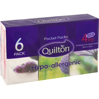 Quilton Pocket Packs 4ply Hypo Allergenic 6 pack