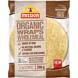 Mission Organic Wholemeal Wrap 5 pack