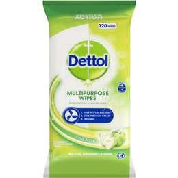 Dettol Antibacterial Disinfectant Cleaning Wipes Crisp Apple 120 pack