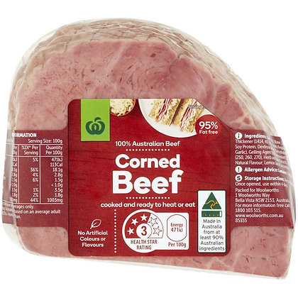 Woolworths Corned Beef Silverside Portion 600g - 1.3kg