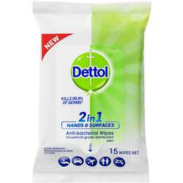 Dettol 2 In 1 Hands And Surfaces Antibacterial Wipes 15's