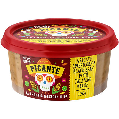 Picante Chargrilled Sweet Corn Black Bean With Jalapeno & Lime 170g