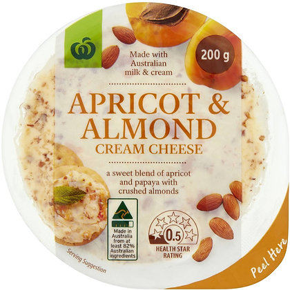 Woolworths Apricot & Almond Cream Cheese 200g