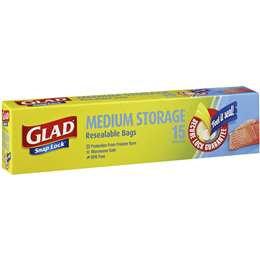 Glad Resealable Medium Storage Bags 15 pack