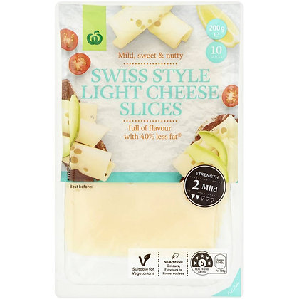 Woolworths Swiss Light Cheese Slices 200g