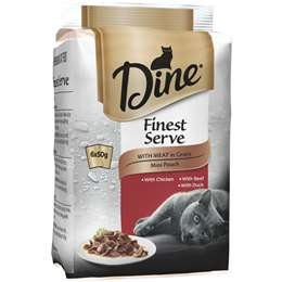 Dine Finest Serve With Meat In Gravy Wet Cat Food Mini Pouch 6 pack