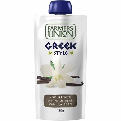 Farmers Union Greek Style Yogurt Pouch Real Vanilla Bean 130g