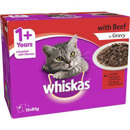 Whiskas 1+ Years Wet Cat Food Favourites Beef In Gravy Pouch 85g x12