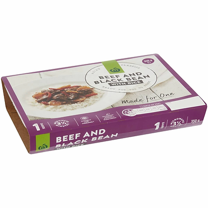 Woolworths Beef In Black Bean Sauce With Rice 350g