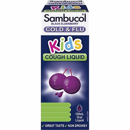 Sambucol Cold & Flu Kids Cough Liquid Black Elderberry 120ml