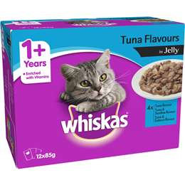 Whiskas 1+ Years Favourites Tuna In Jelly Wet Cat Food Pouch 85g x12