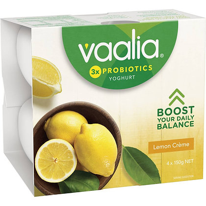 Vaalia Low Fat Lemon Creme Yoghurt 4x150g