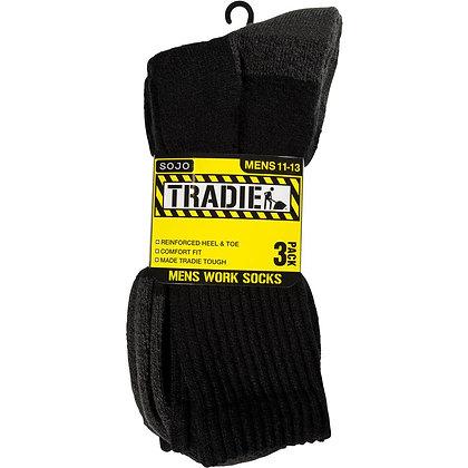 Tradie Mens Socks Black 11/13 3 pack