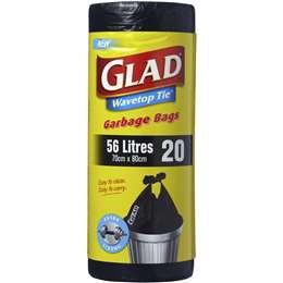 Glad Garbage Bags Wavetop 56l 20 pack