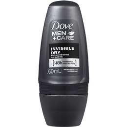 Dove Men Antiperspirant Aerosol Roll On Deodorant Invisible Dry 50ml