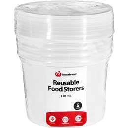 Homebrand Plasticware Food Storage Container 600ml 5 pack