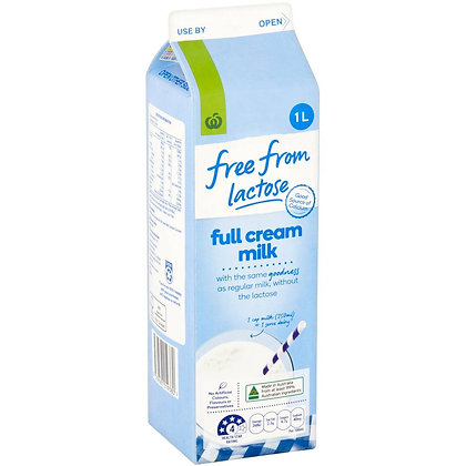 Woolworths Free From Lactose Free Full Cream Milk 1l