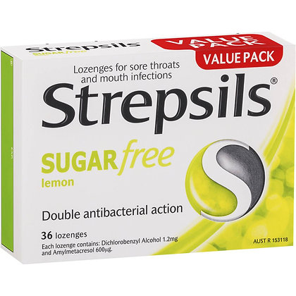 Strepsils Sore Throat Sugar Free Lemon Lozenges 36 pack