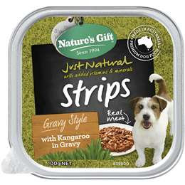 Nature's Gift Adult Dog Food Strips Gravy Style With Kangaroo In Gravy 100g