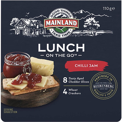 Mainland On The Go Chilli Jam With Cheddar Slices & Crackers 110g