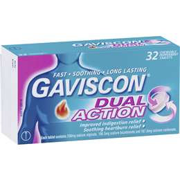 Gaviscon Dual Action Heartburn & Indigestion Chewable Tablets Peppermint 32 pack