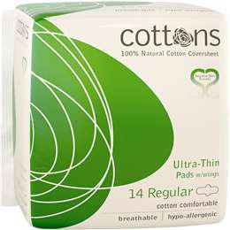 Cottons Ultra Thin Pads With Wings Regular 14 pack