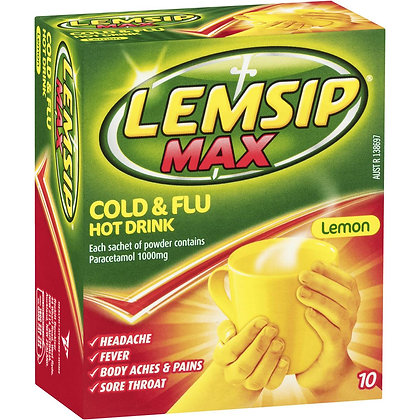 Lemsip Max Cold & Flu Hot Drink Lemon Lemon 10 pack