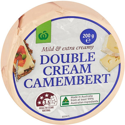 Woolworths Double Cream Camembert 200g