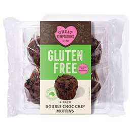 Great Temptations Gluten Free Double Choc Chip Muffins 4 pack