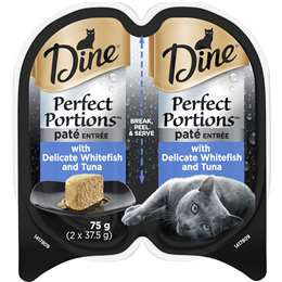 Dine Perfect Portions Pate Tuna Whitefish Wet Cat Food Tray 2x37.5g