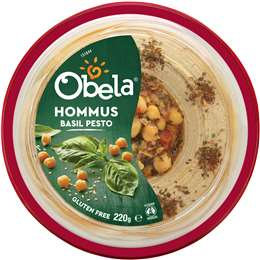 Obela Hommus Garnished With Basil Pesto 220g