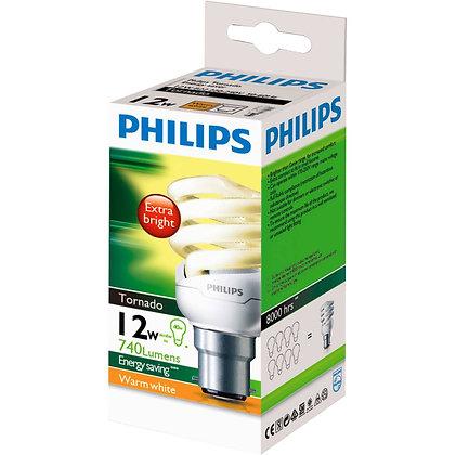 Philips Cfl Tornado Warm White 12w Bc Base each