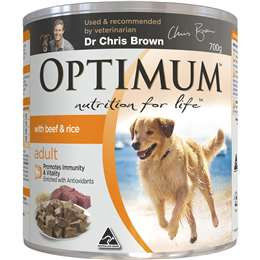 Optimum Adult Wet Dog Food Beef & Rice Can 700g