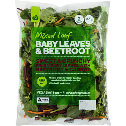 Woolworths Baby Leaf Salad With Beetroot Bag 180g