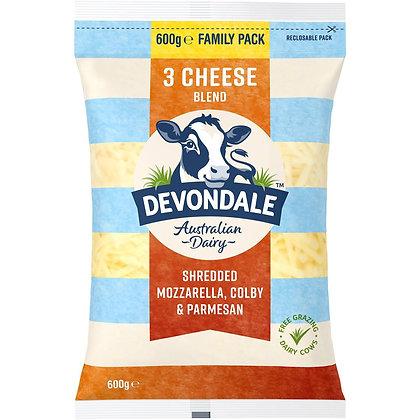 Devondale 3 Cheese Blend Shredded Cheese 600g