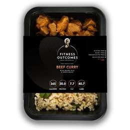 Fitness Outcomes Beef Curry With Brown Rice & Beans 350g