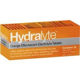 Hydralyte Effervescent Electrolyte Tablets Orange 10 pack