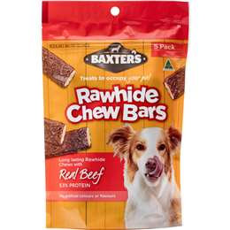 Baxter's Rawhide Chew Bars Beef 5 pack