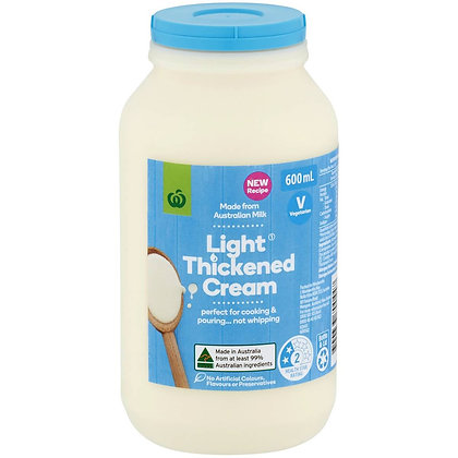 Woolworths Light Thickened Cream 600ml