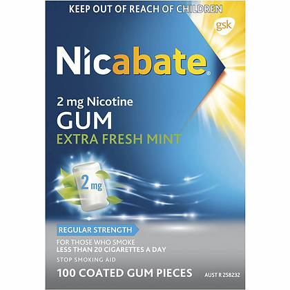 Nicabate Quit Smoking Extra Fresh Mint Gum 2 Mg 100 pack