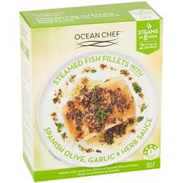 Ocean Chef Steamed Fish Fillets Olive Oil Garlic & Herbs 350g
