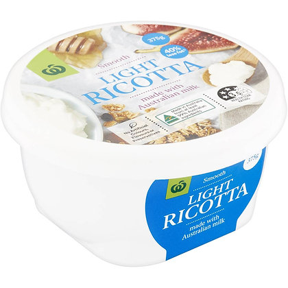 Woolworths Ricotta Light Cheese 375g