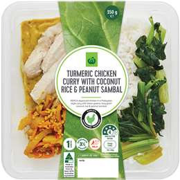 Woolworths Turmeric Chicken Curry With Rice & Peanut Sambal 350g
