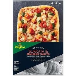 La Gina Woodfired Burrata & Semi Dried Tomato Italian Pizza 405g